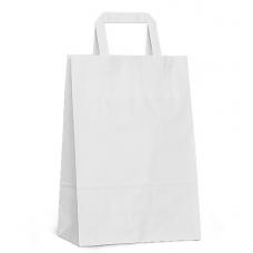 Крафт пакет белый с плоскими ручками, 240*140*280 мм