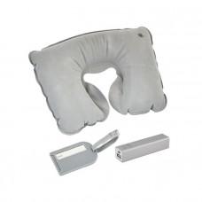 Набор Мир подушка, зарядное, бирка багажная, серый