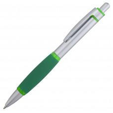 Ручка шариковая Boom, металл, с зелеными элементами
