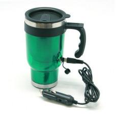 Термокружка с подогревом от прикуривателя, 400 мл, цвет зеленый