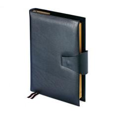 Папка с кольцевым зажимом и блокнотом с застёжкой WINDSOR (АР), формат A4, гладкая кожа, черный