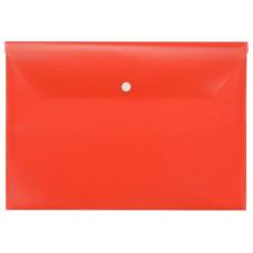 Папка-конверт, 1 отд, горизонтальная, на кнопке, пластик, А4, 180 мкм, желтая