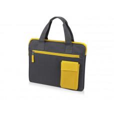 """Конференц сумка для документов """"Сессия """", цвет серый с жёлтым"""